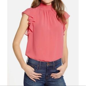 NWT 1 State Flutter Sleeve Smocked Neck Top Shirt